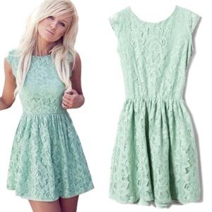 Mint Green Lace Cap Sleeve Mini Dress By Eyeshadow